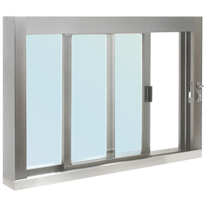 CRL SCDW4836S0XGA Standard Size Self-Closing Deluxe Service Window Glazed with S.S.Step-Sill