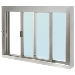 CRL SCDW4836SX0GA Standard Size Self-Closing Deluxe Service Window Glazed with S.S.Step-Sill