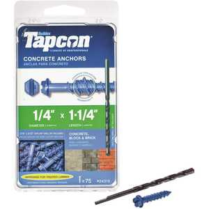 Tapcon 24315 1/4 in. x 1-1/4 in. Hex-Washer-Head Concrete Anchors - pack of 75