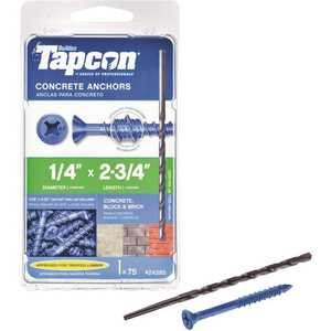 Tapcon 24385 1/4 in. x 2-3/4 in. Phillips-Flat-Head Concrete Anchors - pack of 75