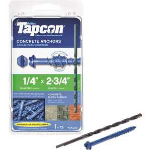 Tapcon 24330 1/4 in. x 2-3/4 in. Hex-Washer-Head Concrete Anchors - pack of 75