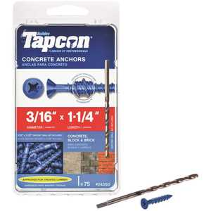 Tapcon 24350 3/16 in. x 1-1/4 in. Phillips-Flat-Head Concrete Anchors - pack of 75