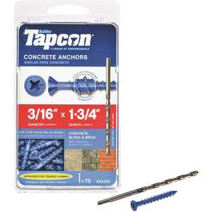 Tapcon 24355 3/16 in. x 1-3/4 in. Phillips-Flat-Head Concrete Anchors - pack of 75