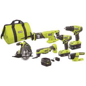 RYOBI P1819 18-Volt ONE+ Lithium-Ion Cordless 6-Tool Combo Kit with (2) Batteries, Charger, and Bag