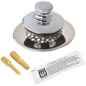 Watco 48750-PP-CP-G-2P Universal NuFit Push Pull Bathtub Stopper with Grid Strainer and Silicone, Two Pins in Chrome Plated