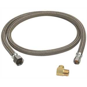 BrassCraft B8-48DW6 P 1/2 in. FIP x 3/8 in. Compression x 48 in. Braided Polymer Dishwasher Connector with 3/8 in. Compression Elbow