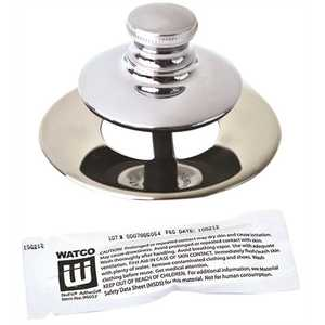 Watco 48750-PP-CP Universal NuFit Push Pull Bathtub Stopper, Non-Grid Strainer and Silicone, Chrome Plated