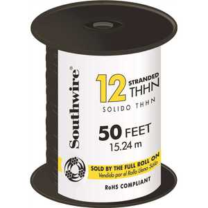 Southwire 22964183 50 ft. 12 Black Stranded CU THHN Wire
