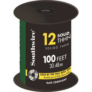 Southwire 11591584 100 ft. 12 Green Solid CU THHN Wire
