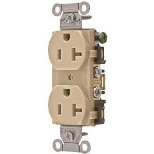 HUBBELL WIRING BR20I 20 Amp Hubbell Commercial Industrial Grade Duplex Receptacle, Ivory