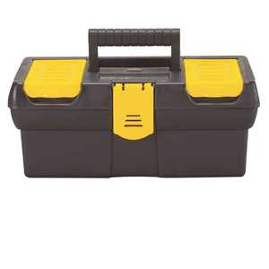 12-1/2 in. Tool Box with Lid Organizers Black