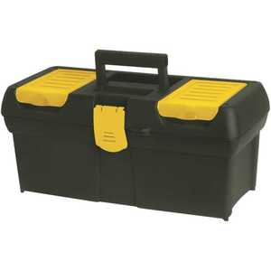 Stanley 016011R 16 in. Portable Plastic with Lid Organizer Mobile Tool Box