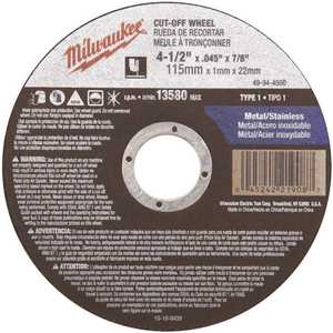 4-1/2 in. x 0.045 in. x 7/8 in. Cut-Off Wheel (Type 1)