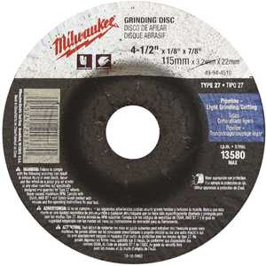 Milwaukee 49-94-4510 4-1/2 in. x 1/8 in. x 7/8 in. Grinding Wheel (Type 27)