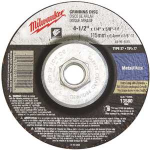 Milwaukee 49-94-4525 4-1/2 in. x 1/8 in. x 5/8-11 in. Grinding Wheel (Type 27)