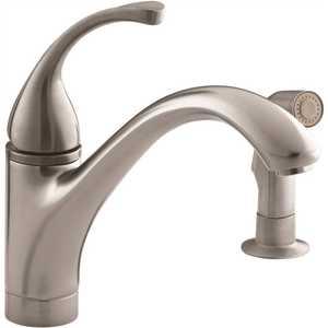 Kohler K-10416-VS Forte Single-Handle Standard Kitchen Faucet with Side Sprayer in Vibrant Stainless