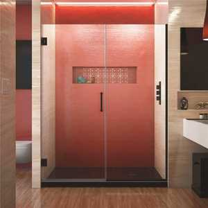 DreamLine SHDR-245857210-09 Unidoor Plus 58.5 to 59 in. x 72 in. Frameless Hinged Shower Door in Satin Black