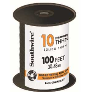 Southwire 22973284 100 ft. 10 Black Stranded CU THHN Wire