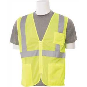 ERB Safety 61648 S363P LG Hi Viz Lime Economy Poly Mesh Safety Vest