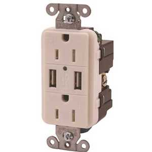 HUBBELL WIRING USB15X2W 15 Amp Hubbell Tamper Resistant USB Charger Duplex Receptacle, White
