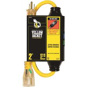 YELLOW JACKET 2817 2 ft. 12/3 SJTW In-Line GFCI Heavy-Duty Cord with Power Light Plug
