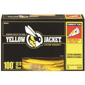 YELLOW JACKET 2885 100 ft. 12/3 SJTW Outdoor Heavy-Duty Extension Cord with Power Light Plug