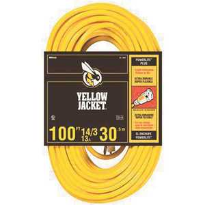 YELLOW JACKET 2888 100 ft. 14/3 SJTW Yellow Jacket Extension Cord with Lighted Receptacle