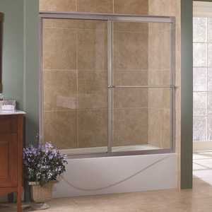 Foremost TDST6058-CL-BN Tides 60 in. x 58 in. Framed Sliding Tub Door in Brushed Nickel with Clear Glass