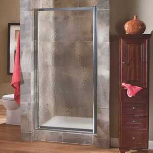 Foremost TDSW2765-OB-SV Tides 25 in. to 27 in. x 65 in. Framed Pivot Shower Door in Silver with Obscure Glass