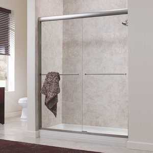 Foremost CVSS6072-CL-SV Cove 60 in. x 72 in. H Semi-Framed Sliding Shower Door in Silver with 1/4 in. Clear Glass without Handle