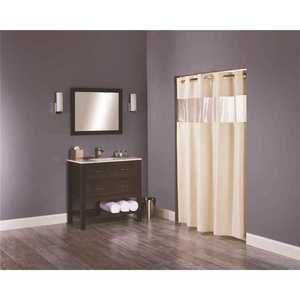Hookless HBH41BUB05W The Major 71 in. x 77 in. Beige Shower Curtain with Vinyl Window - pack of 12