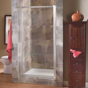 Foremost TDSW3565-CL-SV Tides 33 in. to 35 in. x 65 in. Framed Pivot Shower Door in Silver with Clear Glass with Handle