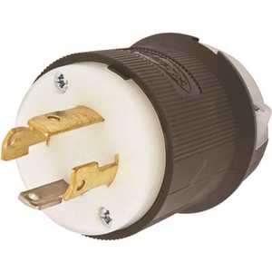 3 Pole 4 Wire 30 Amp 125/250-Volt Nema Configuration L14-30P Insulgrip Twist-Lock Generator Plug Black/White