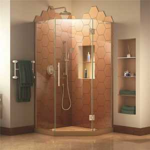 DreamLine SHEN-2640400-04 Prism Plus 40 in. D x 40 in. W x 72 in. H Semi-Frameless Neo-Angle Hinged Shower Enclosure in Brushed Nickel Hardware