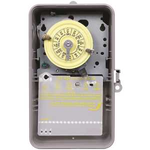 Intermatic T103P T100 Series 120-Volt 24-Hour Indoor/Outdoor Mechanical Timer Switch DPST, Gray