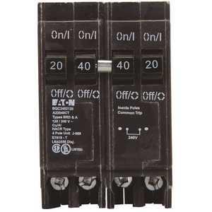 Eaton BQC2402120 BR 1-40 Amp 2 Pole and 2-20 Amp 1-Pole BQC (Common Trip) Quad Circuit Breaker