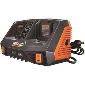 RIDGID AC840094 18-Volt Dual Port Dual Chemistry Sequential Charger with Dual USB Ports