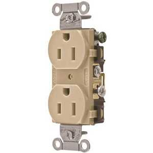 HUBBELL WIRING CR15I 15 Amp Hubbell Commercial Grade Duplex Receptacle, Ivory