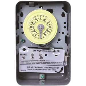 Intermatic T101D89 T101 Series 40 Amp 125-Volt SPST 24-Hour Mechanical Time Switch with Indoor Enclosure Gray/Metal