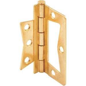 3 in. Bi-Fold Door Hinge, Non Mortise, Brass Plated - pack of 2