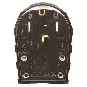 HUBBELL WIRING RR435P R SB 30-50 Amp 3-Pole 4-Wire Angle Ange and Dryer Plug in Black