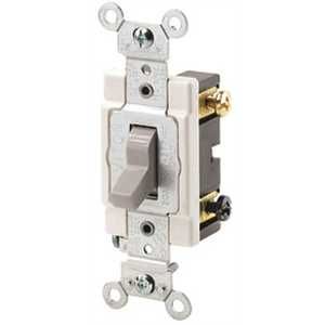 Leviton CSB2-20I 20 Amp, 120-Volt/277 Volt Toggle Double-Pole AC Quiet Switch Commercial Grade Grounding, Ivory