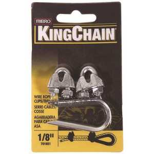 KingChain 701651 1/8 in. Zinc-Plated Wire Rope Clip and Thimble Set