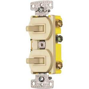 HUBBELL WIRING RC103I 15 Amp 3-Way Regular Combo and Toggle Light Switch, Ivory