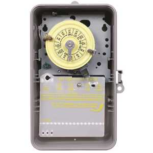 Intermatic T101P T100 Series 120-Volt 24-Hour Indoor/Outdoor Mechanical Timer Switch SPST, Gray Yellow, Gray