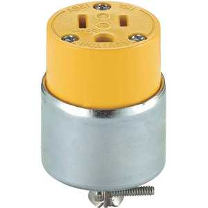 Leviton R50-515CA-000 15 Amp Round Dead Front Connector, Yellow