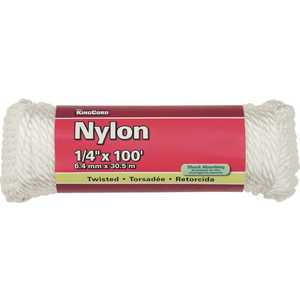 KingCord 300121BG 1/4 in. x 100 ft. White Twisted Nylon Rope - 124 lbs Safe Work Load - Hanked