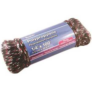 MIBRO 300011BG 1/4 in. x 100 ft. Diamond Braid Polypropylene Rope 95 lbs. Safe Work Load - Hanked