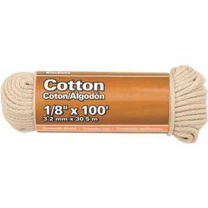 KingCord 300241BG 1/8 in. x 100 ft. Natural Smooth Braid Cotton Rope 9 lbs. Safe Work Load - Hanked