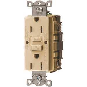 HUBBELL WIRING GFRST15I 15 Amp 125-Volt NEMA 5-15R Hubbell Autoguard Commercial Standard GFCI Receptacle, Ivory